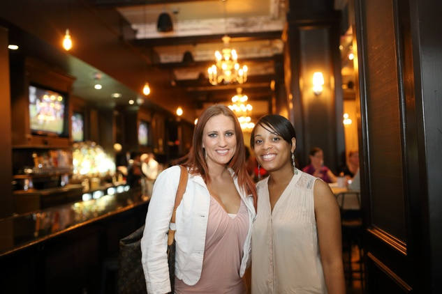 Martine Brittingham, left, and Michelle Center at the Springbok restaurant kick-off party July 2014
