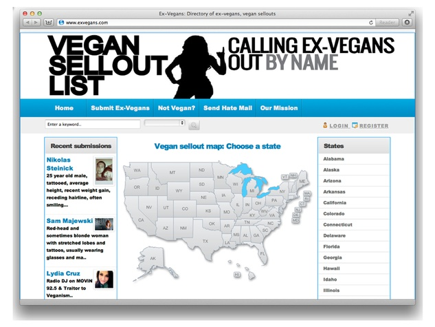 Vegan Sellout List website July 2013
