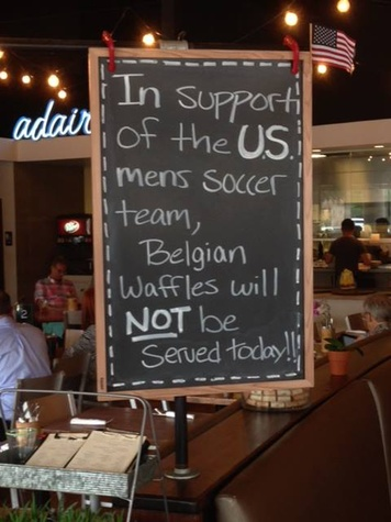 World Cup soccer fever Adair Kitchen sign not serving belgium waffles July 2014