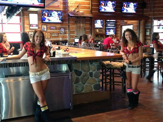 Twin Peaks Shenandoah The Woodlands waitress welcoming guests in