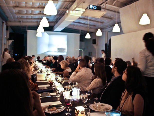 crowd, venue, dinner at the Bill Viola Aurora Picture Show Award party October 2013