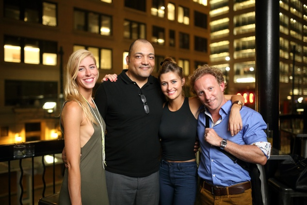 Lindsey George, Esteban Gorospe, Kelly Nicholas and Alex Vila at the Springbok restaurant kick-off party July 2014