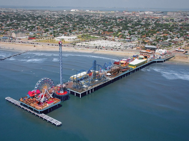 Galveston Island Historic Pleasure Pier aerial view toward inland