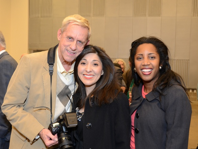 3 Dalton DeHart, from left, Juliet Stipeche and Erica Lee at the mayoral inauguration reception at the Houston Food Bank January 2014