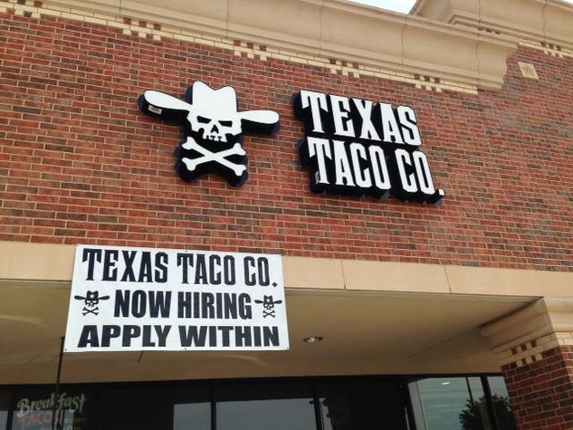 Texas Taco Co. in Magnolia sign on front of building