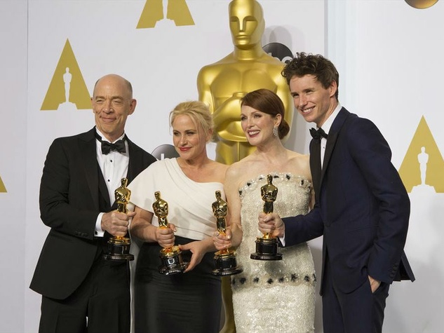 JK Simmons, Patricia Arquette, Julianne Moore and Eddie Redmayne at the 2015 Academy Awards