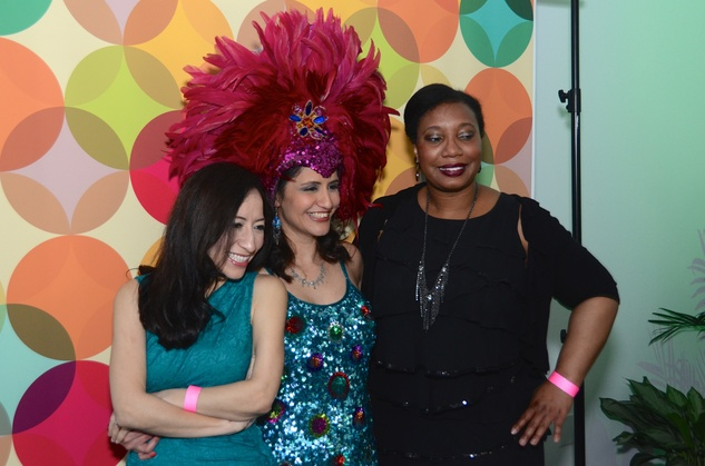 430 Karen Nuqez-Wallace, from left, Miriam Mendoza and Petra Pilgrim at the Craft Museum Martini Madness party January 2015