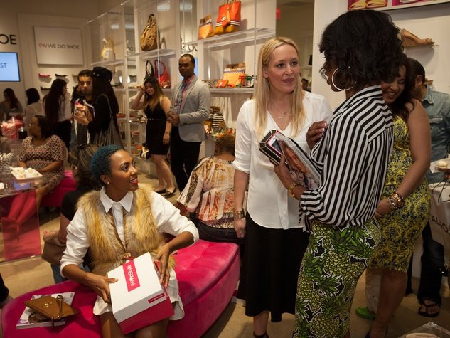 Leah Karp talking to customers at the InStyle for Nine West event March 2014