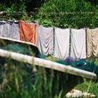 Louisiana scene after BP oil spill clothes drying on clothesline