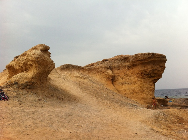 The rock known as Ras Shitan is located where two beaches meet Sinai Egypt