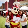 Jollibee Houston grand opening with mascot and smiling girls September 2013
