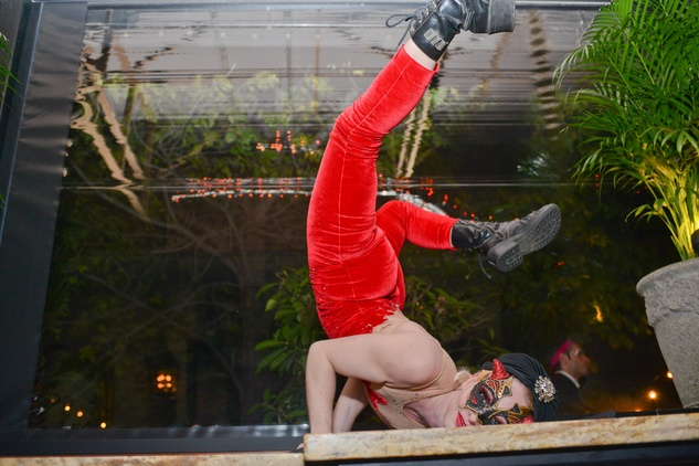 Jetspeed Productions contortionist at Hotel ZaZa's Halloween Bash November 2014