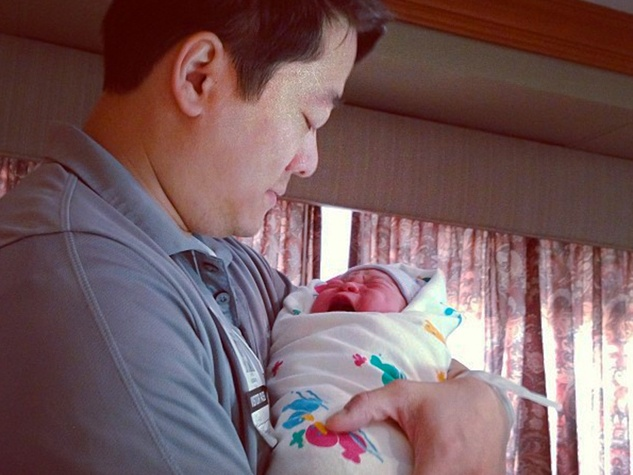 Gene Wu with new baby boy September 2013