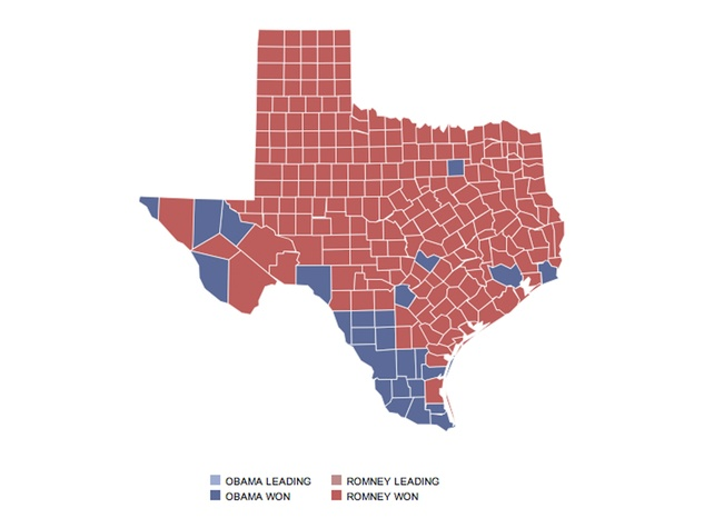 The Great Divide President Obama Carries Top Texas Cities And - A map of texas cities