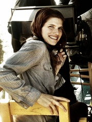 Lake Bell on the set of In a World... movie