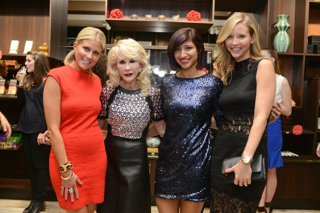 2b Allie Fields, from left, Diane Lokey Farb, Annie Rupani and Melissa Strong at the Cacao & Cardamom party November 2014