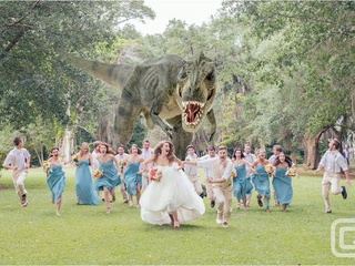 Wedding party runs from a dinosaur