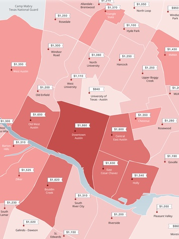 Zumper rental map report Austin most least expensive neighborhoods July 2015