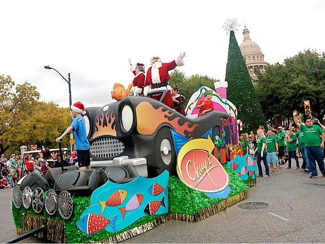 parade float from Chuy's Children Giving to Children Christmas parade