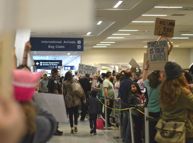 DFW Airport, refugee protest