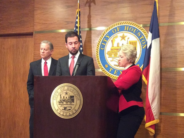 Mayor Annise Park with city attorney David Feldman and finance director Kelly Dowe on firefighter retirement benefits January 2014